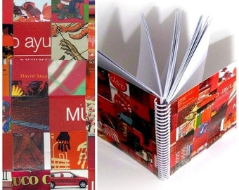 Upcycled Cute Red Spiral Notebook, Spiral Bound Journal, Paper, Blank Sketchbook, Back to School, Writing, All Occasion, Gifts Under 30