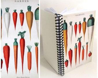 Carrots Notebook, Botanical Chart, Blank Sketchbook, A6 Recipes, Spiral Bound Journal Pocket, 4x6 Inches Cute Garden Planner, Gifts Under 20
