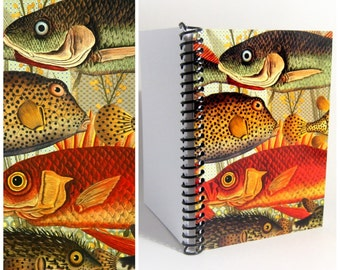 Fishes and Algae Cute A6 Spiral Notebook Back to School, Red Green Blank Writing Pocket Spiral Bound Journal Diary Sketchbook Gifts Under 15