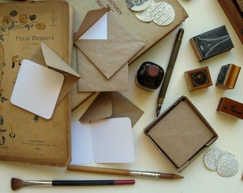 Kraft Paper, Mini Stationery Set, Blank Note Cards, Kraft Envelopes, Packaging Supplies, Small Envelopes, Cute Stationery, Square Envelopes