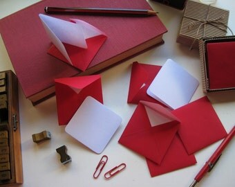Valentines Day Red Envelopes Love Stationery Set, Blank Note White Cards, Gift Tags, Small, Square, Greetings, Gifts Under 10, Thank You