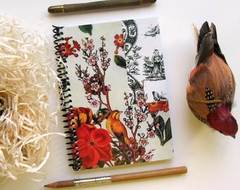 Pocket Bird and Flowers Spiral A6 Garden Notebook Blank Sketchbook Small Spiral Bound Writing Diary Journal Back to School Paper Under 15