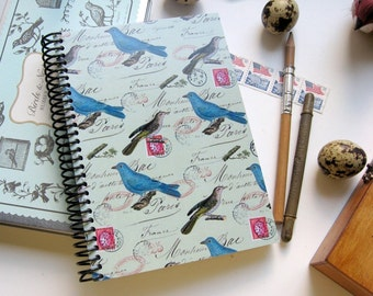 Blue Birds on Mint Spiral A6 Notebook, Back to School, Spiral Bound Diary Writing Journal, Blank Sketchbook, Garden Gift Under 15 Cute Paper