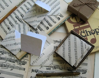 Musical Score, Mini Stationery Set, Blank Note Cards, Small Envelopes, Gift Cards, Square Envelopes, Greeting Cards, Gift Tags