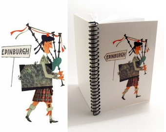 Scottish Piper Travel Journal Diary, Writing, Spiral Bound, Blank Sketchbook, A5 Cute Notebook, Gifts Under 20, 5x7 Inches, Paper Notebook