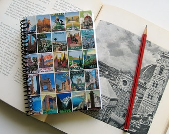 Italy Posters Travel Journal, Writing, Spiral Bound Diary, Blank Sketchbook, Pocket Notebook, A6, Cute, 4x6 Inches, Travel Gifts Under 20