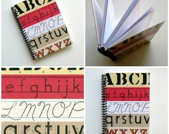 ABCs Writing Spiral Bound Journal, Blank Sketchbook, Back to School, Blank A6 Notebook, Paper, Spiral, Cute, Pocket, Diary, Gifts Under 20