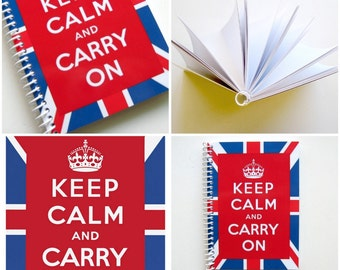 Keep Calm Carry On London Travel Journal Spiral Bound, Pocket Notebook, Union Jack Flag, Red Blue A6, Sketchbook, Writing, Gifts Under 20