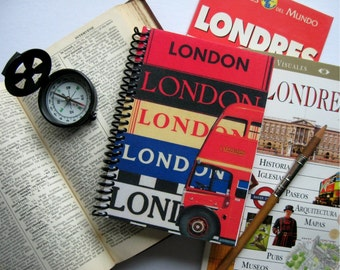London Travel Journal, Pocket Notebook, Blank Sketchbook, Writing, Vintage Style, A6, Paper, Spiral Bound, Diary Notebook, Gifts Under 20