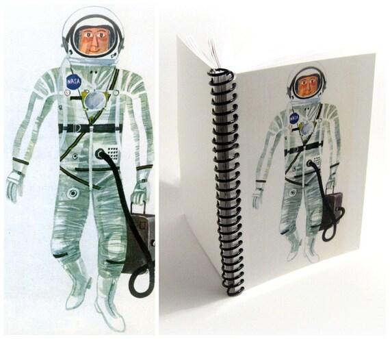 NASA Astronaut, Spiral Notebook, Travel Journal, Blank Sketchbook, A6 Notebook, Small Notebook, Mid Century Modern, Pocket Notebook