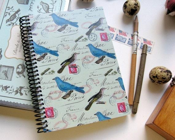 Blue Birds on Mint Spiral A6 Notebook, Back to School, Spiral Bound Diary Writing Journal, Blank Sketchbook, Garden Gift Under 15 Cute Paper