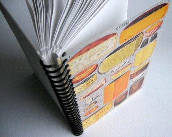 Mrs Beeton Cheese, Recipe Notebook, Blank Sketchbook, Back to School, Writing Journal, A6 Notebook, Spiral Bound Journal, Paper Notebook