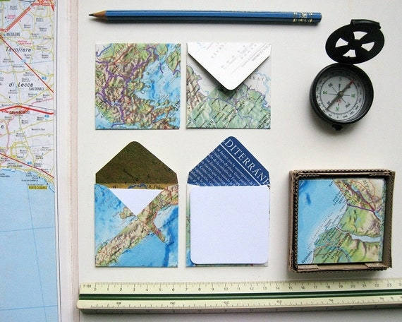 World Map Mini Stationery Set, White Note Cards, Cute, Blank, Gifts Under 10, Folded Cards, Thank You, Handmade, Set of 12, Greetings Cards
