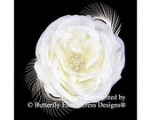 Pearl Crystal Cluster Ivory Gracie English Rose Flower Feather Bridal Hair Clip