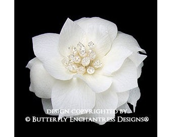 2 Pearl Crystal Ivory Blooming Poppy Flower Mini Hair Combs
