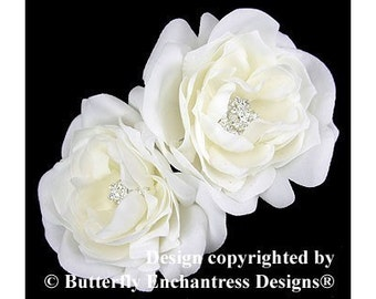 2 Rhinestone Collette French Rose Bridal Hair Flower Clips