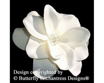Crystal Ivory Gardenia Bridal Hair Flower Clip