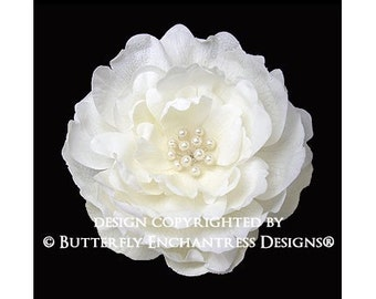 Pearl Ivory Ellabelle Peony Bridal Hair Flower Clip