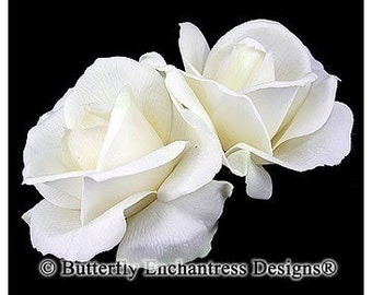 Wedding Hair Flowers, Bridal Hair Accessories, Fascinators, Headpiece - 2 Ivory Rose Flower Hair Clips