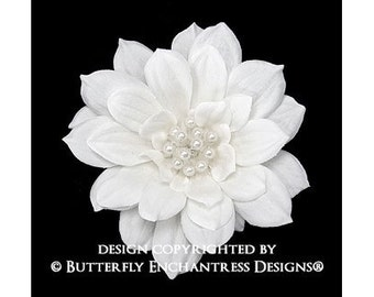 Pearl Diamond White Mini Autumn Dahlia Bridal Hair Flower Comb