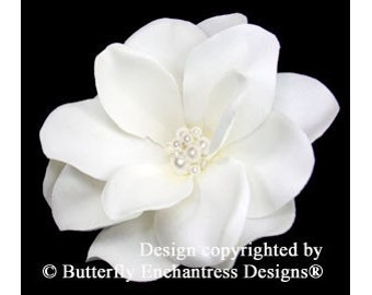 Pale Ivory Gardenia Bridal Hair Flower Clip with Pearl Crystal Cluster Center by Butterfly Enchantress Designs