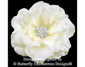 Starfire Rhinestone Ivory Audrina Bridal Hair Flower Clip