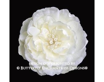 Pearl Crystal Ivory Ellabelle Peony Bridal Hair Flower
