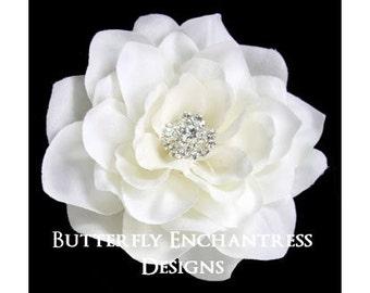 Wedding Hair Flowers, Bridal Flower Clip, Hair Accessories - Pale Ivory Tahitian Gardenia Hair Clip - Rhinestone