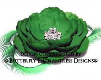 Rhinestone Green English Rose Flower & Feather Hair Clip