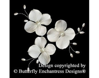 3 Ivory Hydrangea Flower Pearl Vine Bridal Hair Pins