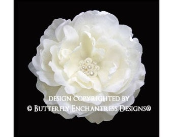 Pearl Crystal Cluster Ivory Ellabelle Peony Bridal Hair Flower