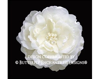 Bridal Hair Accessory, Wedding Hair Flower, Bridal Hair Clip - Pearl Cluster Ivory Ellabelle Peony Bridal Hair Flower Clip