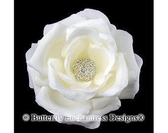Clear Rhinestone Ivory Rose Flower Bridal Hair Clip
