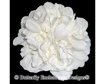 Creamy White Peony Bridal Hair Flower Clip