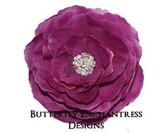 Rhinestone Plum Purple English Rose Flower Hair Clip
