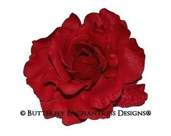 Red Mckenzie Rose Bridal Hair Flower Clip