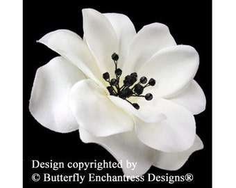 Crystal Fireworks Ivory Black Gardenia Bridal Hair Flower Clip