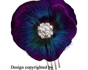 Violet Blue Shimmer Feather Flower Hair Comb