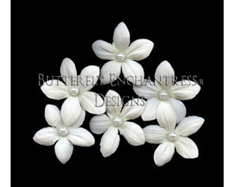 6 Pearl Creamy White Stephanotis Flower Bridal Hair Pins