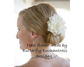 Pearl Crystal Cluster Ivory Mirielle Dahlia Bridal Hair Flower Clip