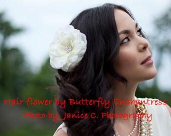 Flower Hair Clip, Bridal Hair Flower, Wedding Hair Accessory, Bridal Flower Hair Accessories - Starfire Ivory Audrina Bridal Hair Flower