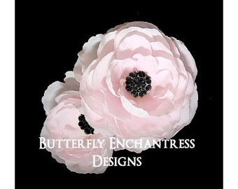 2 Pale Pink Coronado Anemone Bridal Hair Flower Clips with Black Rhinestone Centers