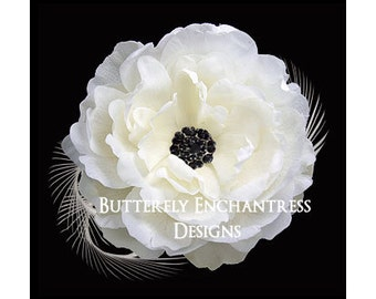 Ivory / Black Ellabelle Peony Flower & Feather Bridal Hair Clip