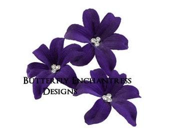 Bridal Hair Flowers, Wedding Flower Headpiece, Hair Accessory - 3 Dark Purple Wild Orchid Flower Hair Pins - Beach Wedding