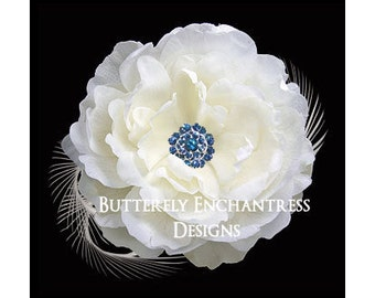 Ivory / Blue Ellabelle Peony Flower & Feather Bridal Hair Clip