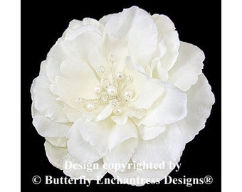 Pearl Crystal Fireworks Ivory Audrina Flower Hair Clip