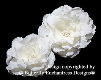 2 Ivory Audrina Bridal Hair Flower Clips - Pearl Cluster