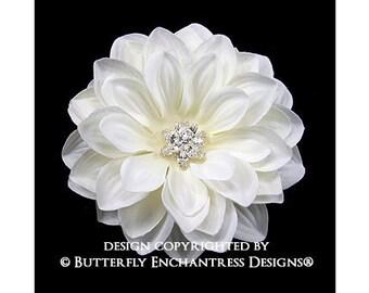 Ivory Mirielle Dahlia Bridal Hair Flower Clip - Starfire Rhinestone