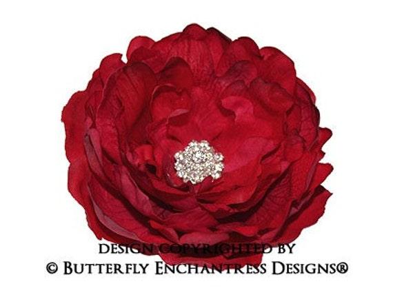 Crystal Rhinestone Spanish Red Ellabelle Peony Bridal Hair Flower