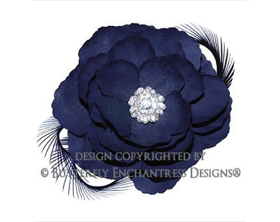 Rhinestone Navy Blue English Rose Flower & Feather Hair Clip with INTERNATIONAL RUSH s/h